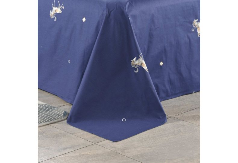 Алексия (синяя) КПБ сатин Евро 4н